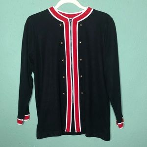 Military  Style Zip Up Cardigan Black and Red S